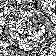 Hand drawn floral wallpaper Stock Illustration