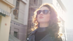 Young Woman with Glasses Out in the City - Beautiful young woman with glasses Stock Footage