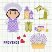 Provence set of flat icons - stock illustration