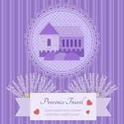 Vector postcard Provence - stock illustration