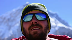 Pan of a trekker at High Himalaya Mountain Stock Footage