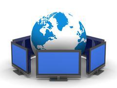 Global telecommunication on white background. Isolated 3D image Stock Illustration