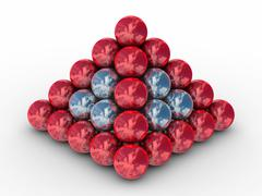 Pyramid from metal spheres on a white background. 3D image Stock Illustration