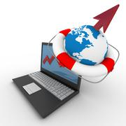 Laptop. concept of financial growth. 3D image. Stock Illustration