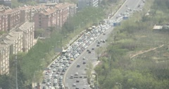 4k china urban city busy traffic jams,business building,air pollution. - stock footage