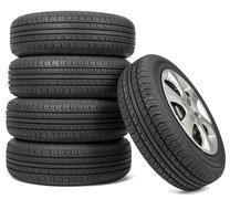 Closeup of five tires Stock Photos