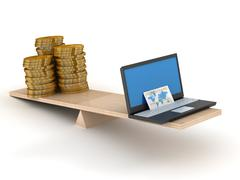 Comparison of e-commerce and cash. Isolated 3D image Stock Illustration