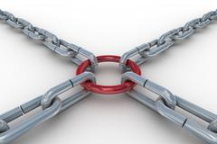 Chain fastened by a red ring. 3D image. Stock Illustration
