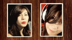 Music girl photographs sing listen Stock Footage