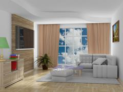 Interior of a living room. 3D image. Stock Illustration