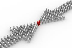 Arrow made of people. 3D image. Stock Illustration