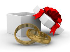 White gift box with rings. 3D image on white background. Stock Illustration
