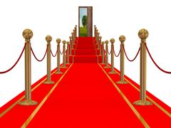 Red carpet path on a stair. 3D image. Stock Illustration
