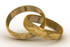 Two gold wedding rings. the 3D  image. Stock Illustration