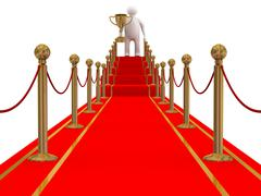 Winner on a red carpet path. 3D image Stock Illustration