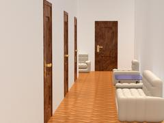 Interior of a corridor. waiting room. 3D image. Piirros