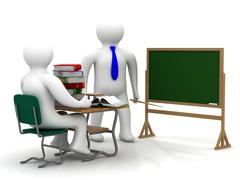 Lesson in a school class. Isolated 3D image. Stock Illustration