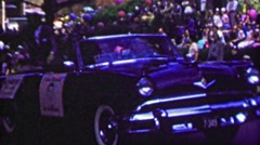 1952: Ed Sullivan parade grand marshall waves to excited crowd. - stock footage