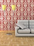 Floor lamp and sofa. Details of an interior. Stock Illustration