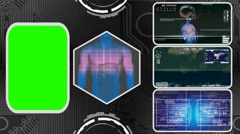 Digestion - Three Monitor Scanning Info - Green Screen - blue 03 - stock footage