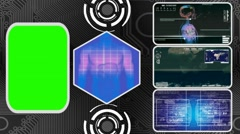 Digestion - Three Monitor Scanning Info - Green Screen - blue 02 Stock Footage