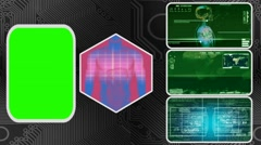 Digestion - Three Monitor Scanning Info - Green Screen - green 01 - stock footage