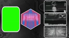 Digestion - Three Monitor Scanning Info - Green Screen - grey 01 - stock footage