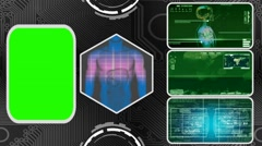 Digestion - Three Monitor Scanning Info - Green Screen - green 03 - stock footage