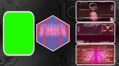 Digestion - Three Monitor Scanning Info - Green Screen - red 01 - stock footage