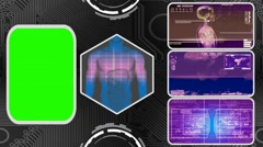 Digestion - Three Monitor Scanning Info - Green Screen - purple 03 - stock footage