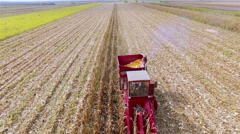 Aerial Drone Video Tractor Sowing a Field Stock Footage