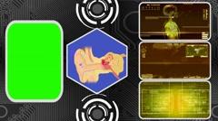 Ear - Three Monitor Scanning Info - Green Screen - yellow 02 Stock Footage