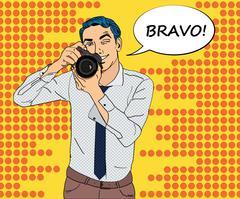 Photographer with camera in studio mockup Stock Illustration