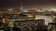 City Buildings at Night, Residential Houses, Time Lapse. Russia, Novosibirsk - stock footage