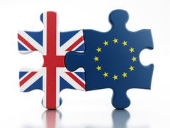 Britain and European Union flags on puzzle parts Stock Illustration