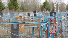 Cemetery crosses funeral, wreaths and tsyeta Stock Footage