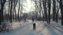 A man running away with his dog on the snow-covered forest Stock Footage