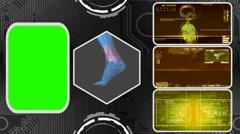 Foot - Three Monitor Scanning Info - Green Screen - yellow 03 Arkistovideo