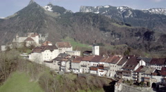 Aerial view Gruyeres small town Stock Footage