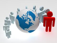 Group of people standing round globe. 3D image. Stock Illustration