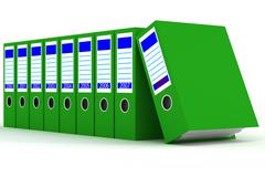 Row of green folders with documents on a white background Stock Illustration