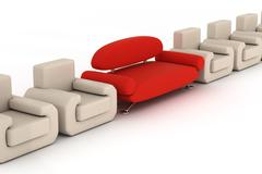 Row armchairs and red sofa on a white background. 3D image. Stock Illustration