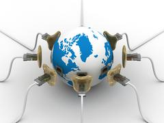 Protected global network the Internet. 3D image. Stock Illustration