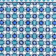 Blue azulejos on the building's exterior - stock photo