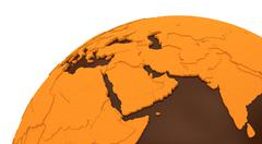 Middle East on chocolate Earth - stock illustration