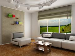 Interior of a room of rest. 3D image Stock Illustration