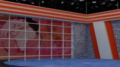 News TV Studio Set 157-Virtual Green Screen Background Loop - stock footage