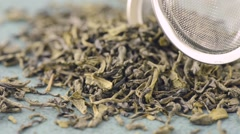 Green tea leaves in close-up - stock footage