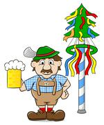 bavarian with a beer and maypole - stock illustration