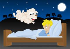 sheep jumping over the bed of a sleepless man - stock illustration